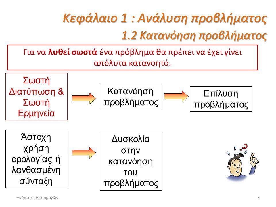 Κεφάλαιο 1 : Ανάλυση προβλήματος 1.2 Κατανόηση προβλήματος
