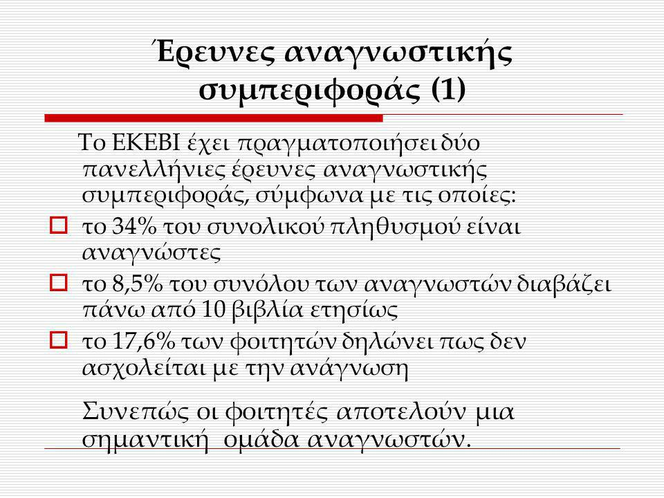 Έρευνες αναγνωστικής συμπεριφοράς (1)