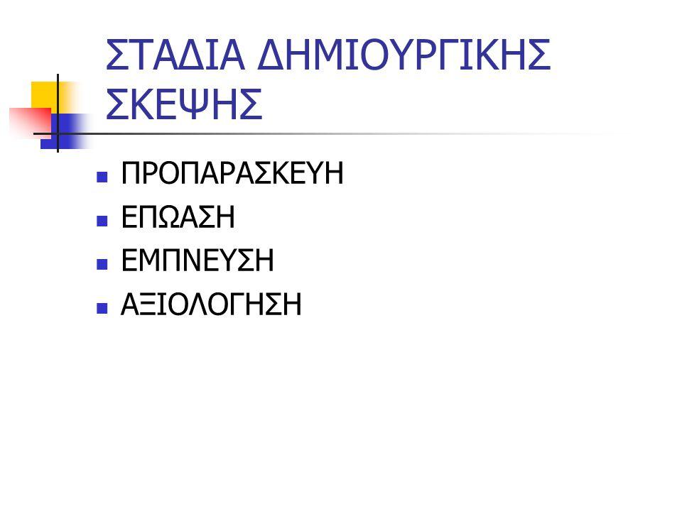 ΣΤΑΔΙΑ ΔΗΜΙΟΥΡΓΙΚΗΣ ΣΚΕΨΗΣ