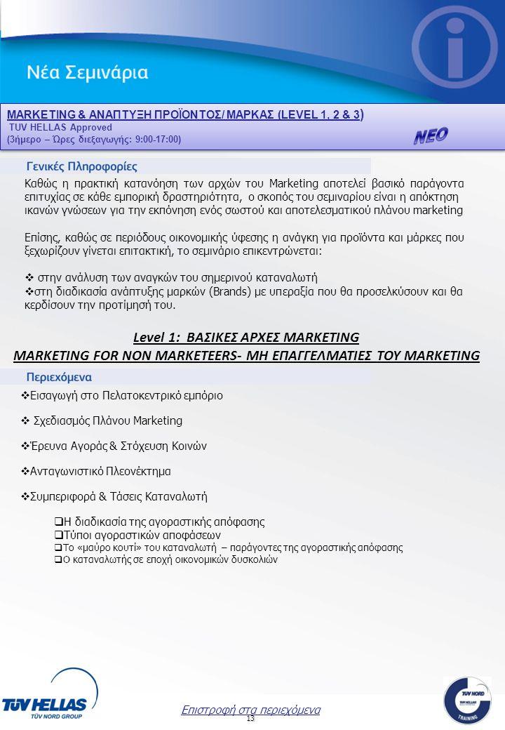 ΝΕΟ Level 1: ΒΑΣΙΚΕΣ ΑΡΧΕΣ MARKETING
