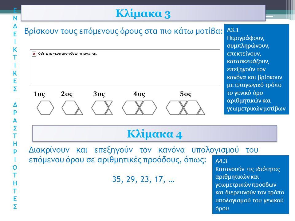 Κλίμακα 3 Κλίμακα 4 Βρίσκουν τους επόμενους όρους στα πιο κάτω μοτίβα:
