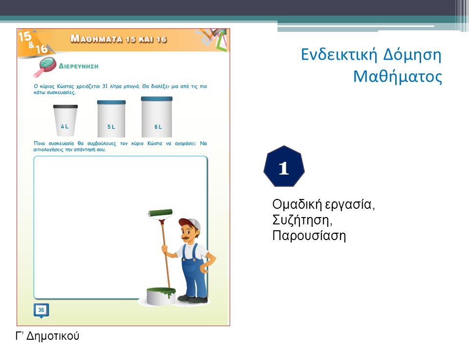 1 Ενδεικτική Δόμηση Μαθήματος Ομαδική εργασία, Συζήτηση, Παρουσίαση