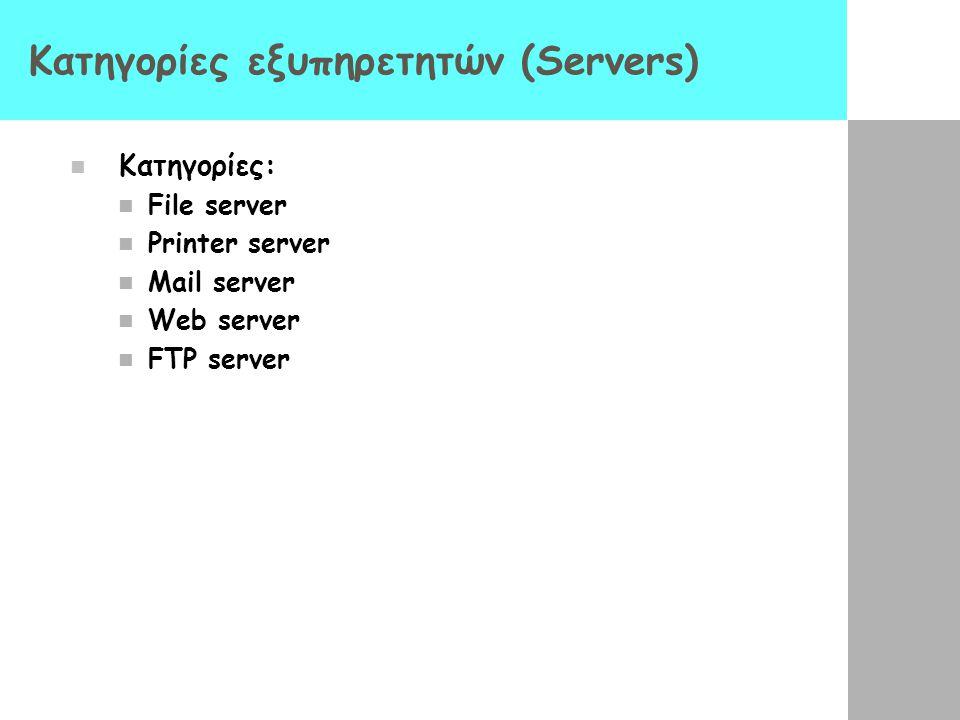Κατηγορίες εξυπηρετητών (Servers)