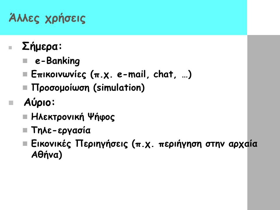 Άλλες χρήσεις Αύριο: e-Banking Επικοινωνίες (π.χ. e-mail, chat, …)