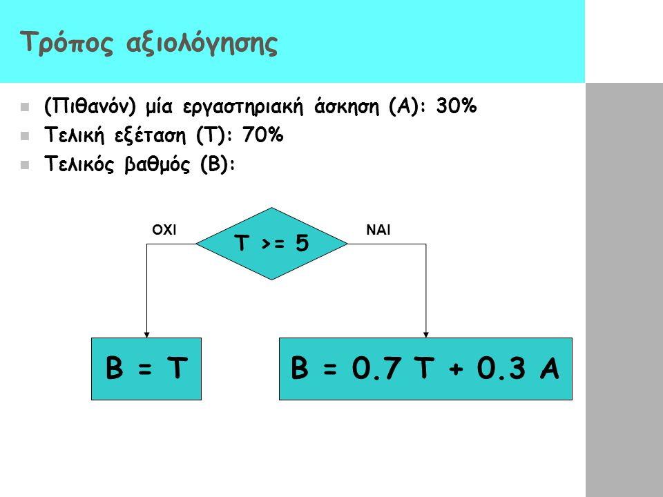B = Τ B = 0.7 Τ + 0.3 A Τρόπος αξιολόγησης Τ >= 5