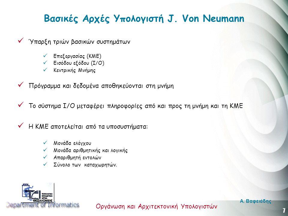 Βασικές Αρχές Υπολογιστή J. Von Neumann