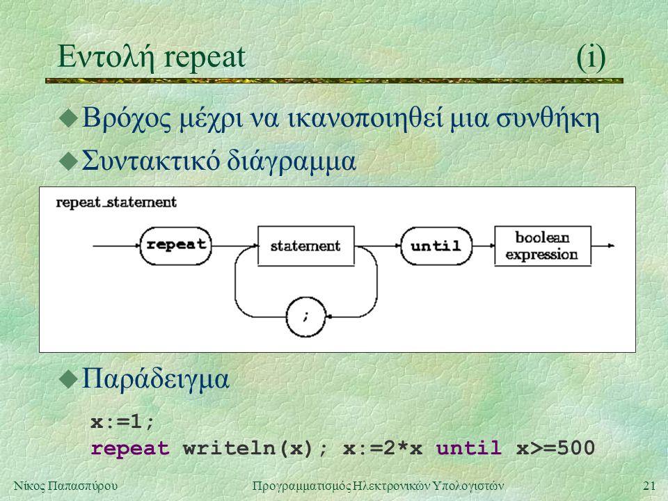 Εντολή repeat (i) Βρόχος μέχρι να ικανοποιηθεί μια συνθήκη