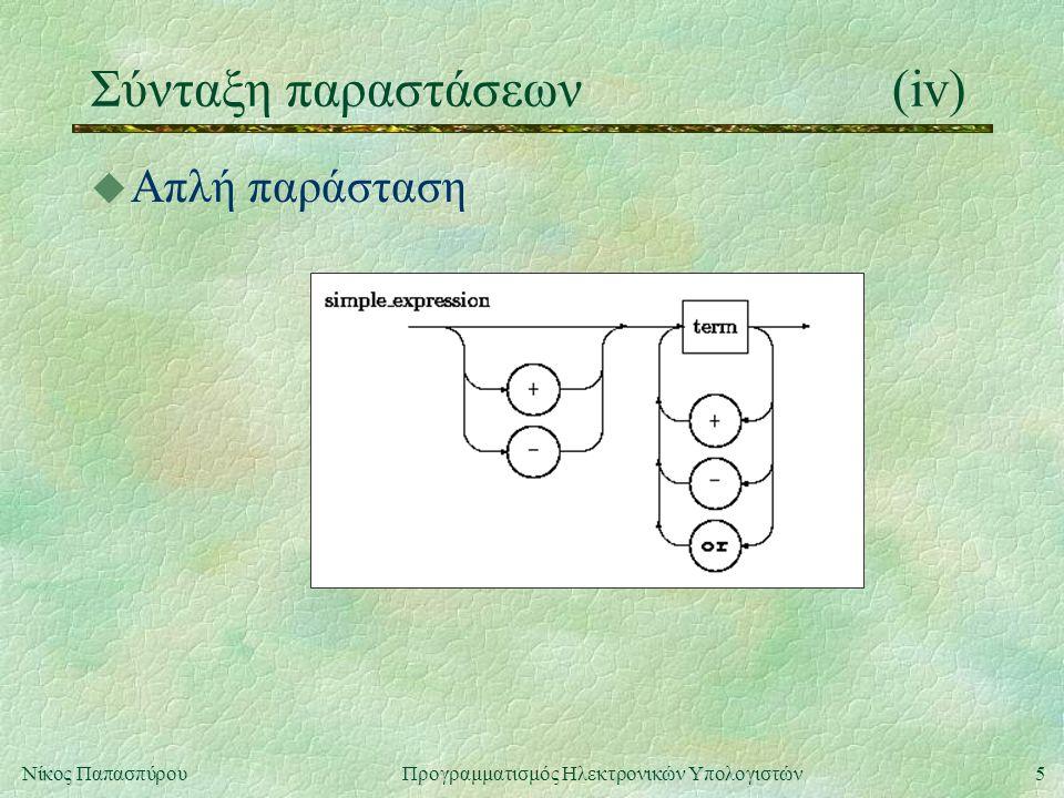 Σύνταξη παραστάσεων (iv)