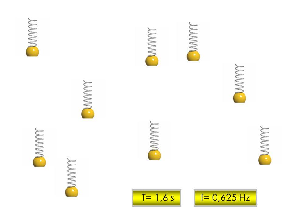 T= 1,6 s f= 0,625 Hz