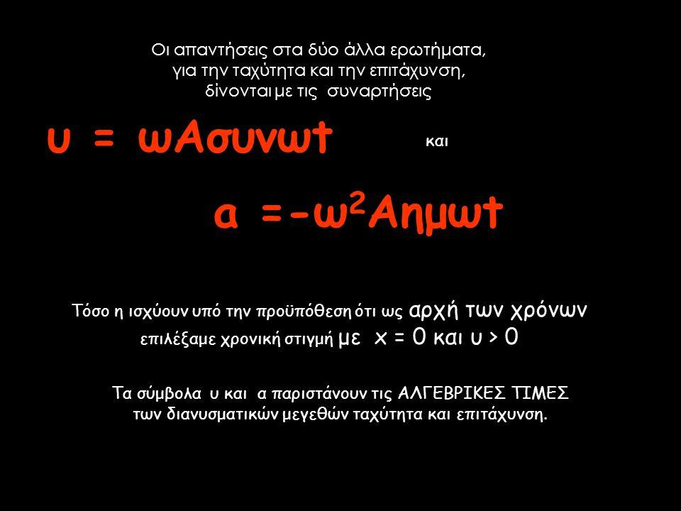 υ = ωΑσυνωt a =-ω2Αημωt Οι απαντήσεις στα δύο άλλα ερωτήματα,