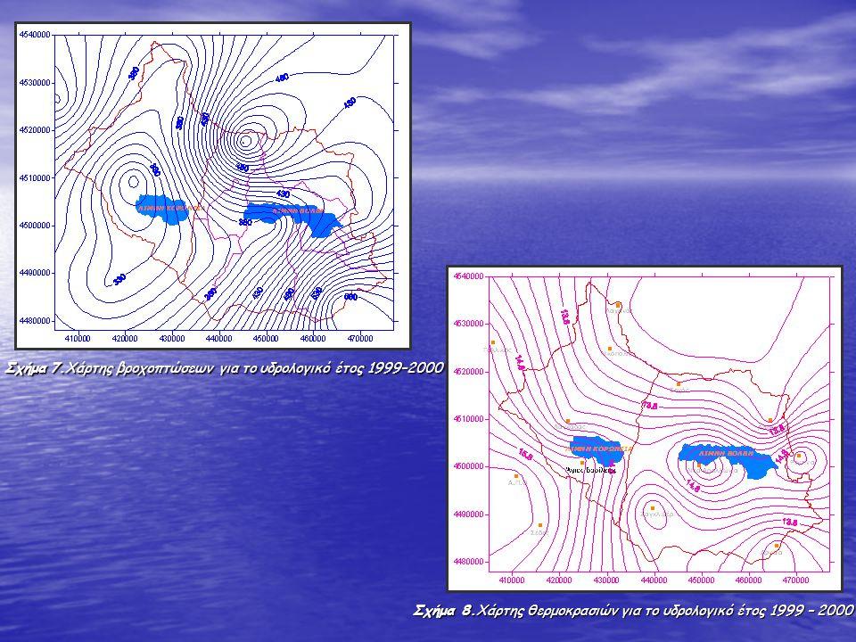 Σχήμα 7.Χάρτης βροχοπτώσεων για το υδρολογικό έτος 1999–2000