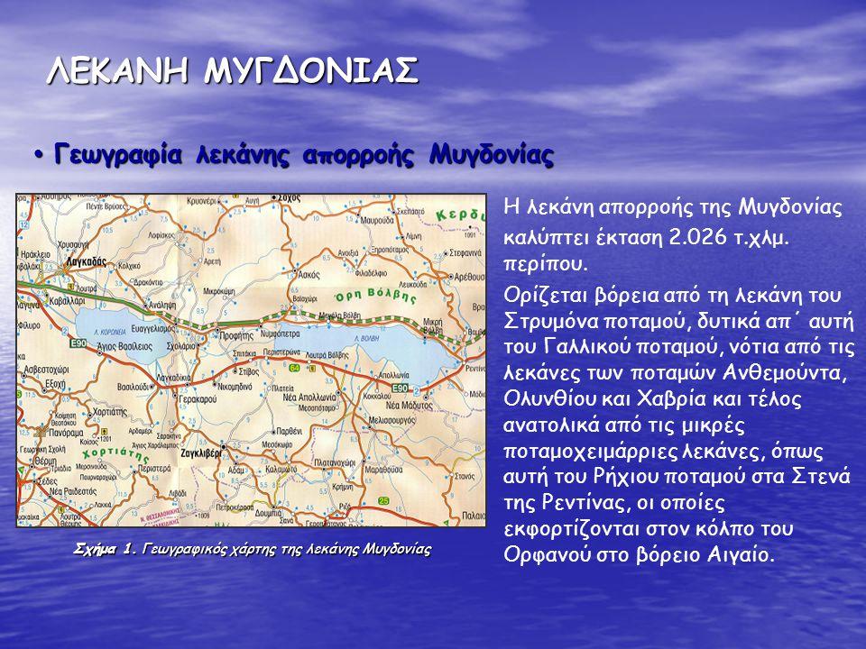 ΛΕΚΑΝΗ ΜΥΓΔΟΝΙΑΣ Γεωγραφία λεκάνης απορροής Μυγδονίας
