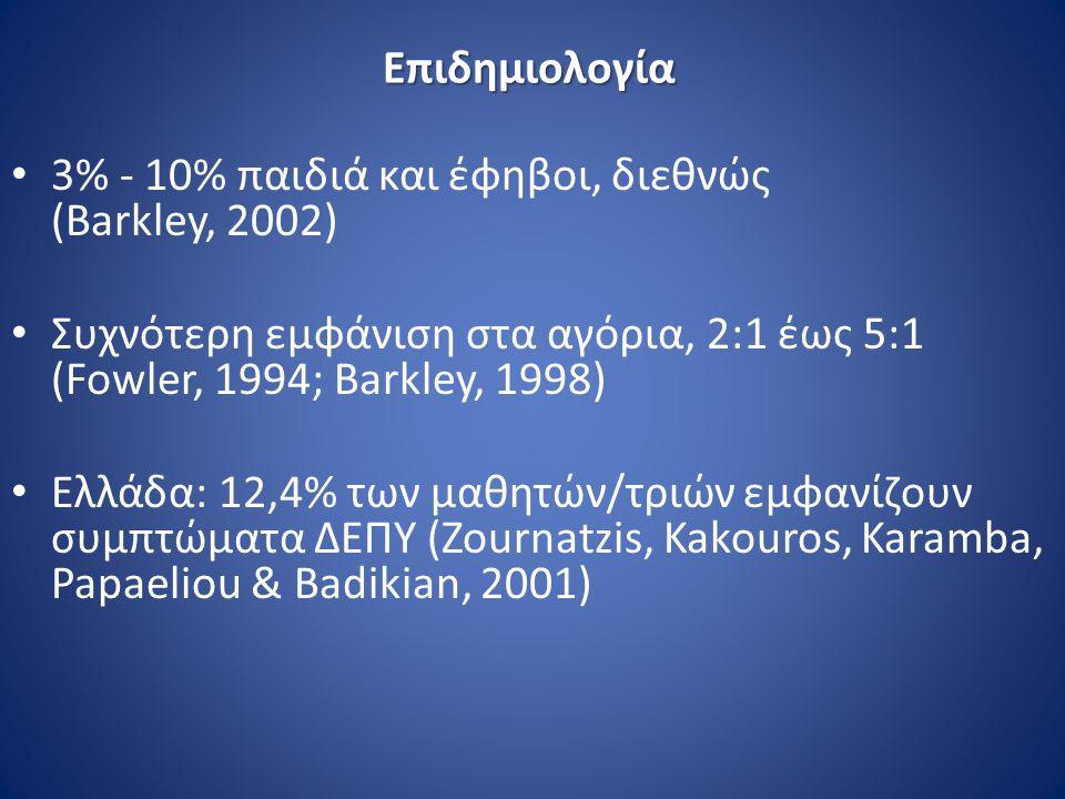 Επιδημιολογία 3% - 10% παιδιά και έφηβοι, διεθνώς (Barkley, 2002)