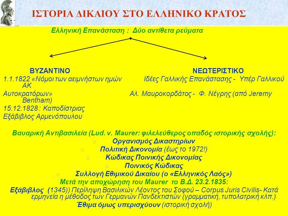 ΙΣΤΟΡΙΑ ΔΙΚΑΙΟΥ ΣΤΟ ΕΛΛΗΝΙΚΟ ΚΡΑΤΟΣ