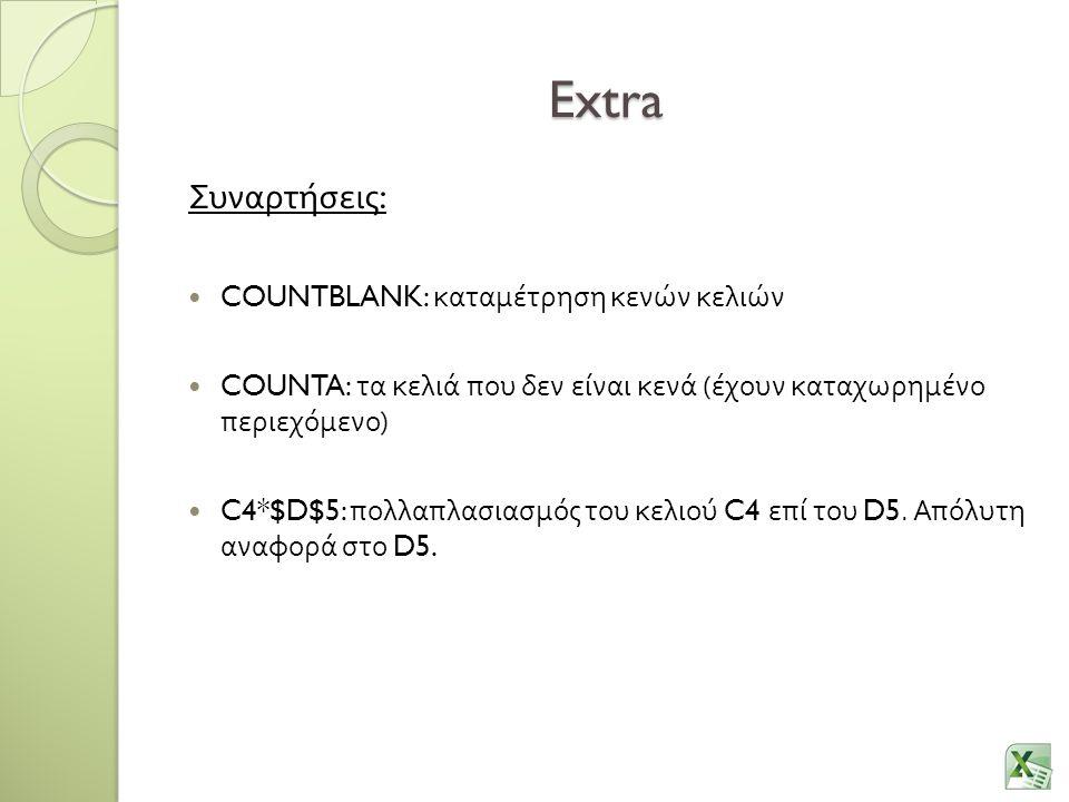 Extra Συναρτήσεις: COUNTBLANK: καταμέτρηση κενών κελιών