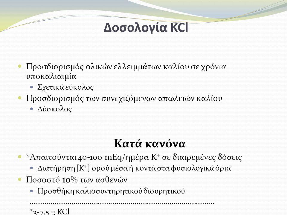 Δοσολογία KCl Κατά κανόνα