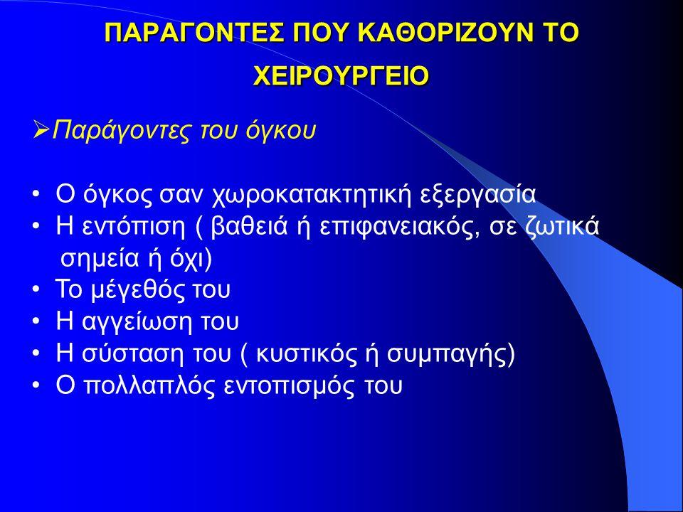 ΠΑΡΑΓΟΝΤΕΣ ΠΟΥ ΚΑΘΟΡΙΖΟΥΝ ΤΟ ΧΕΙΡΟΥΡΓΕΙΟ