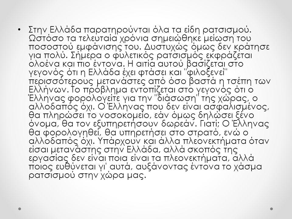 Στην Ελλάδα παρατηρούνται όλα τα είδη ρατσισμού