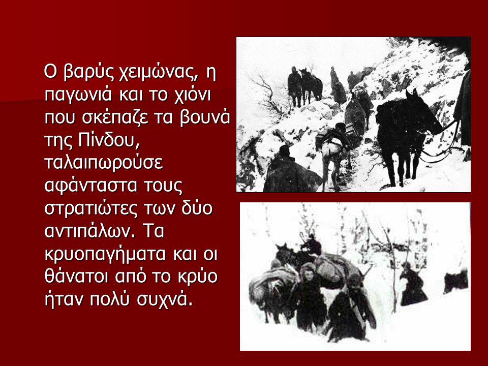 Ο βαρύς χειμώνας, η παγωνιά και το χιόνι που σκέπαζε τα βουνά της Πίνδου, ταλαιπωρούσε αφάνταστα τους στρατιώτες των δύο αντιπάλων.