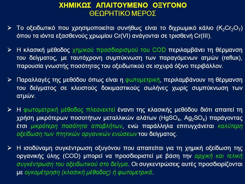 ΧΗΜΙΚΩΣ ΑΠΑΙΤΟΥΜΕΝΟ ΟΞΥΓΟΝΟ ΘΕΩΡΗΤΙΚΟ ΜΕΡΟΣ