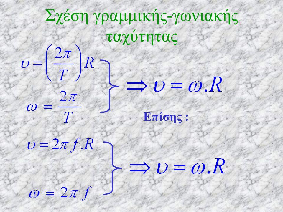 Σχέση γραμμικής-γωνιακής ταχύτητας