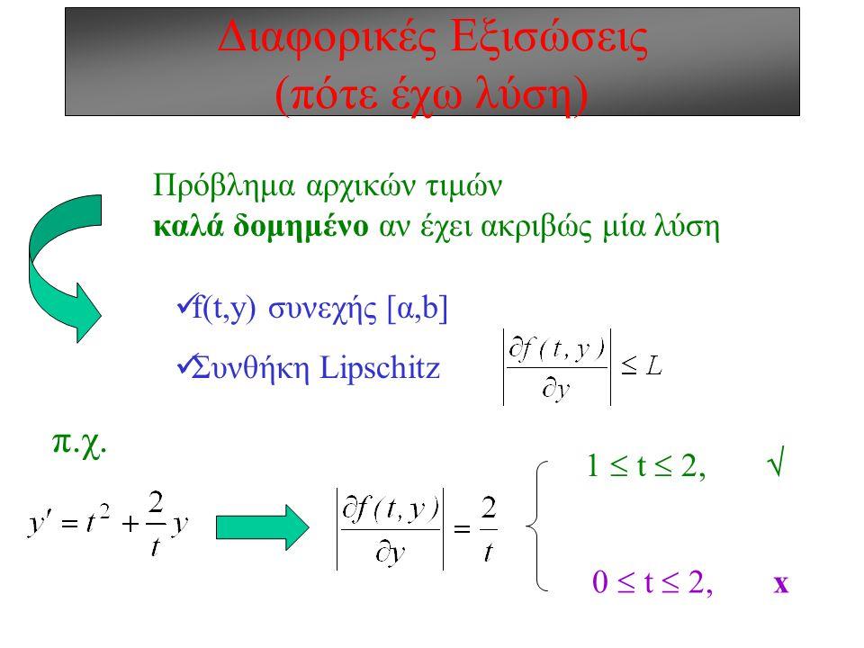 Διαφορικές Εξισώσεις (πότε έχω λύση)