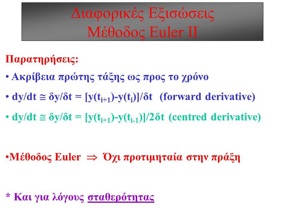 Διαφορικές Εξισώσεις Μέθοδος Euler ΙΙ