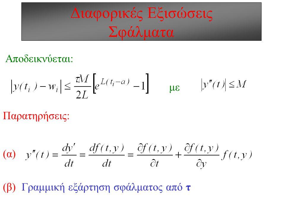 Διαφορικές Εξισώσεις Σφάλματα