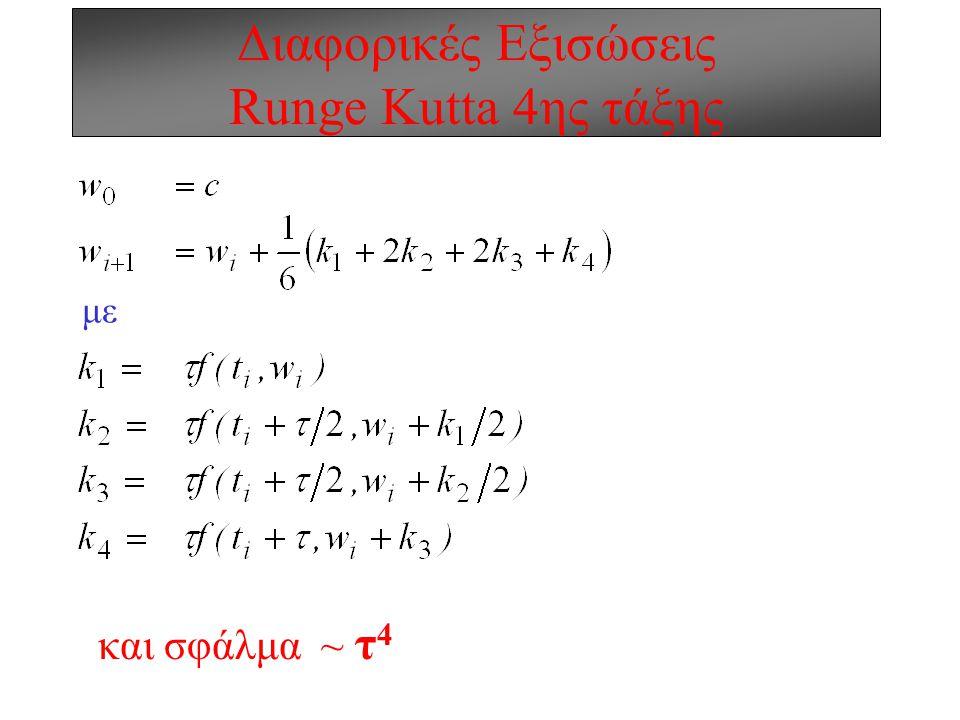 Διαφορικές Εξισώσεις Runge Kutta 4ης τάξης