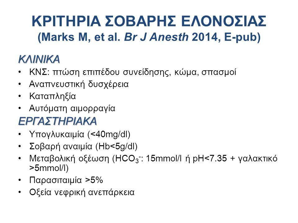 ΚΡΙΤΗΡΙΑ ΣΟΒΑΡΗΣ ΕΛΟΝΟΣΙΑΣ (Marks M, et al. Br J Anesth 2014, E-pub)
