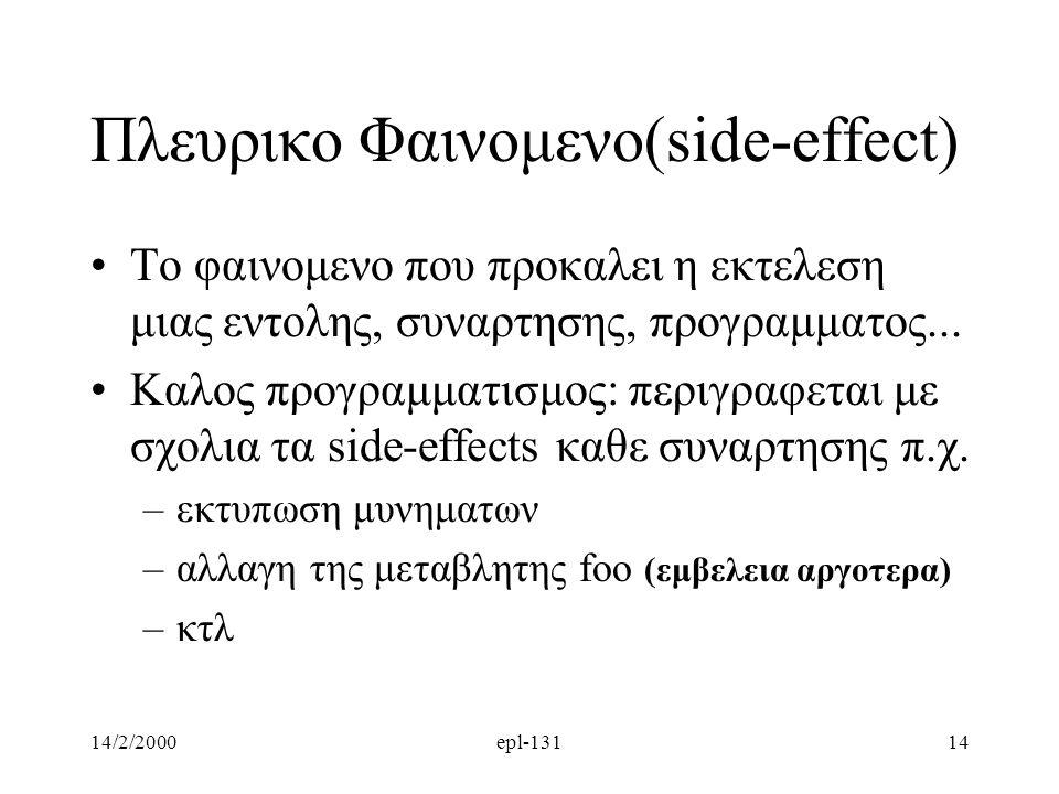 Πλευρικο Φαινομενο(side-effect)