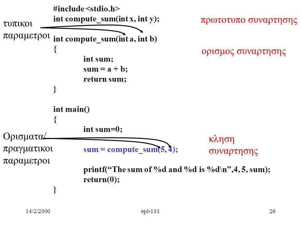 πρωτοτυπο συναρτησης τυπικοι παραμετροι ορισμος συναρτησης Ορισματα/