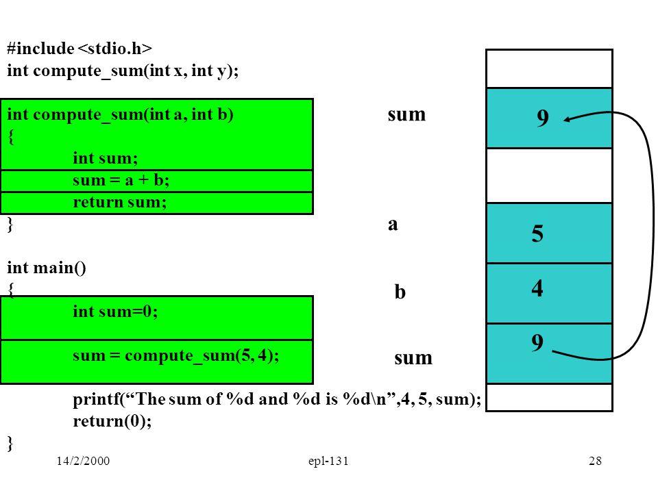 9 5 4 9 sum a b sum #include <stdio.h>