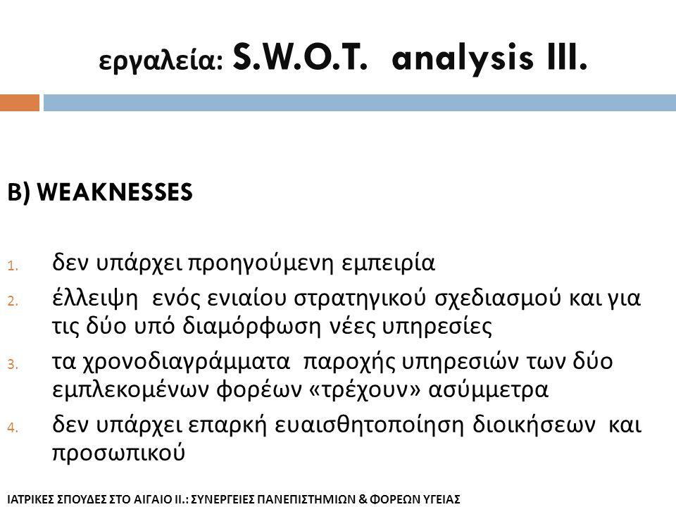 εργαλεία: S.W.O.T. analysis III.