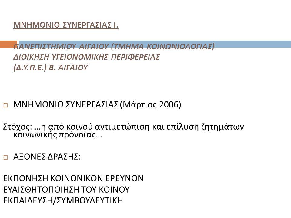 ΜΝΗΜΟΝΙΟ ΣΥΝΕΡΓΑΣΙΑΣ (Μάρτιος 2006)