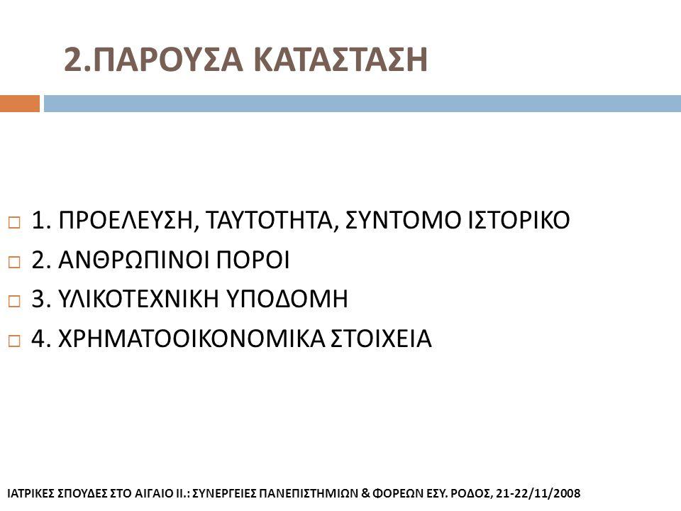 2.ΠΑΡΟΥΣΑ ΚΑΤΑΣΤΑΣΗ 1. ΠΡΟΕΛΕΥΣΗ, ΤΑΥΤΟΤΗΤΑ, ΣΥΝΤΟΜΟ ΙΣΤΟΡΙΚΟ
