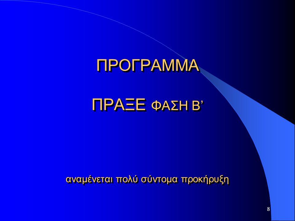 ΠΡΟΓΡΑΜΜΑ ΠΡΑΞΕ ΦΑΣΗ Β' αναμένεται πολύ σύντομα προκήρυξη