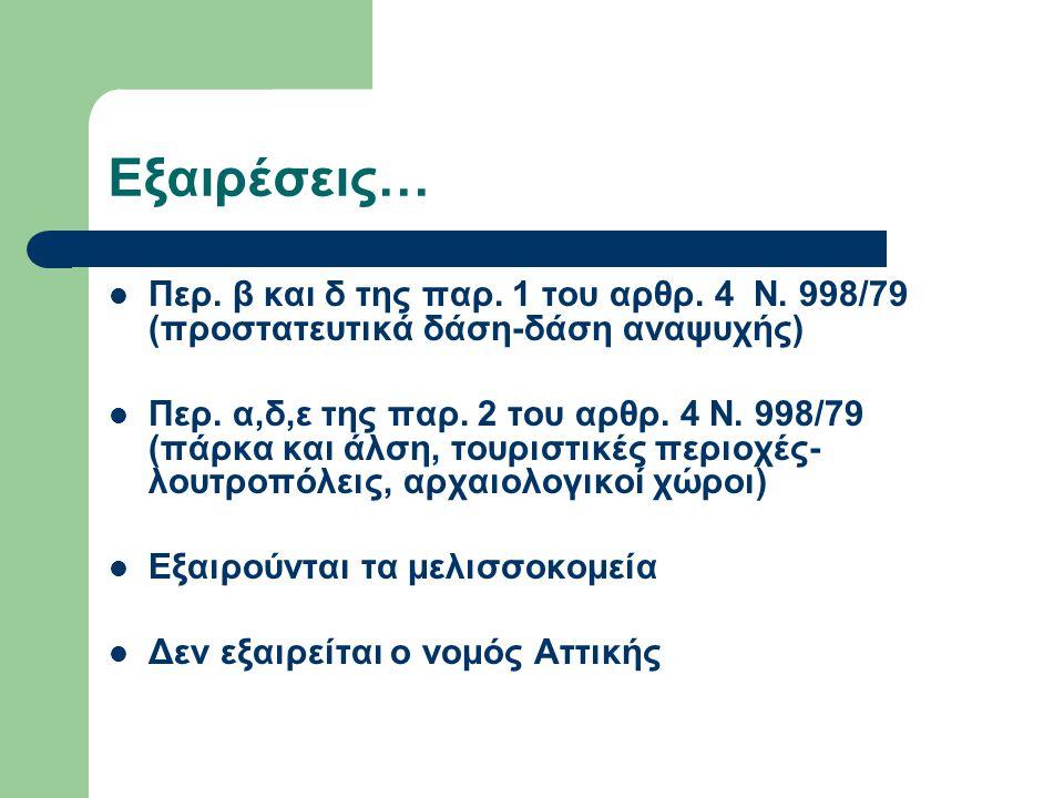 Εξαιρέσεις… Περ. β και δ της παρ. 1 του αρθρ. 4 Ν. 998/79 (προστατευτικά δάση-δάση αναψυχής)