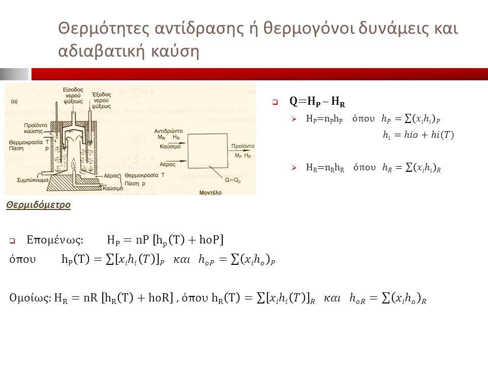 Θερμότητες αντίδρασης ή θερμογόνοι δυνάμεις και αδιαβατική καύση
