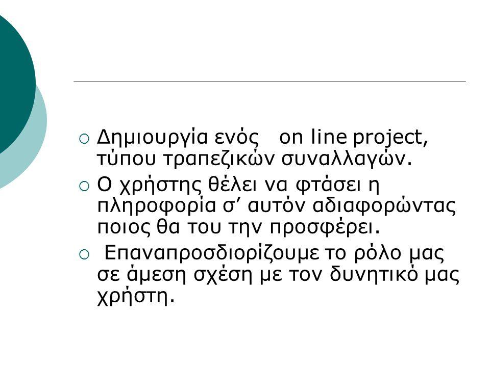 Δημιουργία ενός on line project, τύπου τραπεζικών συναλλαγών.