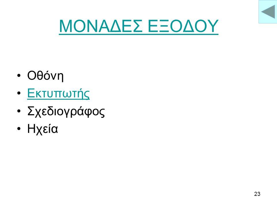 ΜΟΝΑΔΕΣ ΕΞΟΔΟΥ Οθόνη Εκτυπωτής Σχεδιογράφος Ηχεία