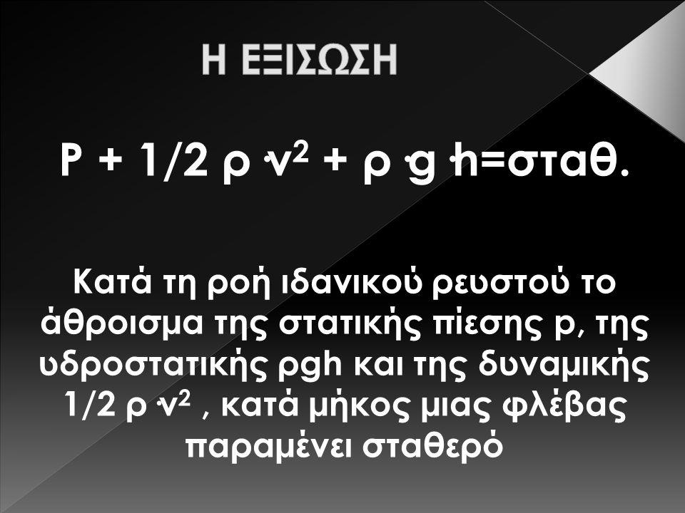 Ρ + 1/2 ρ·v2 + ρ·g·h=σταθ. Η ΕΞΙΣΩΣΗ