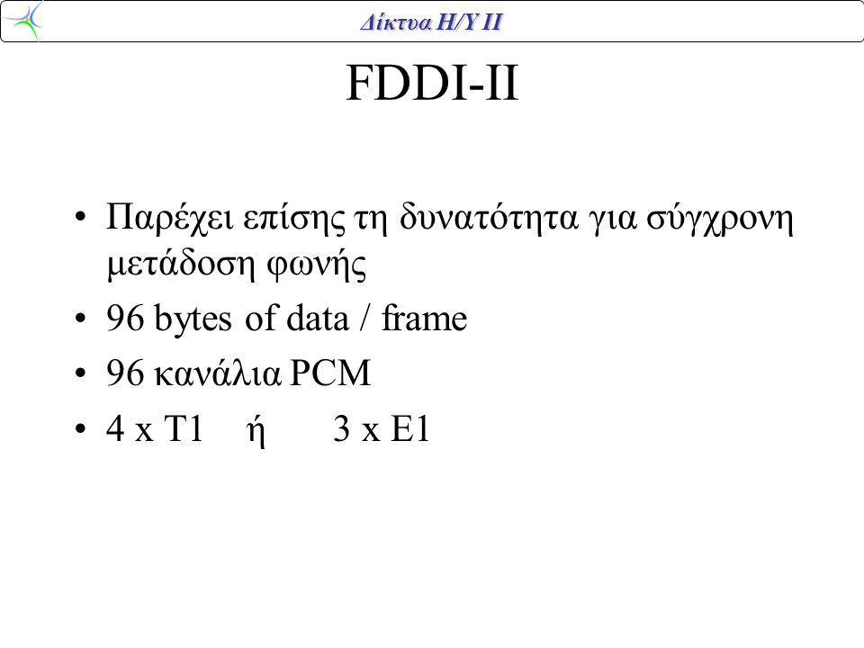 FDDI-II Παρέχει επίσης τη δυνατότητα για σύγχρονη μετάδοση φωνής
