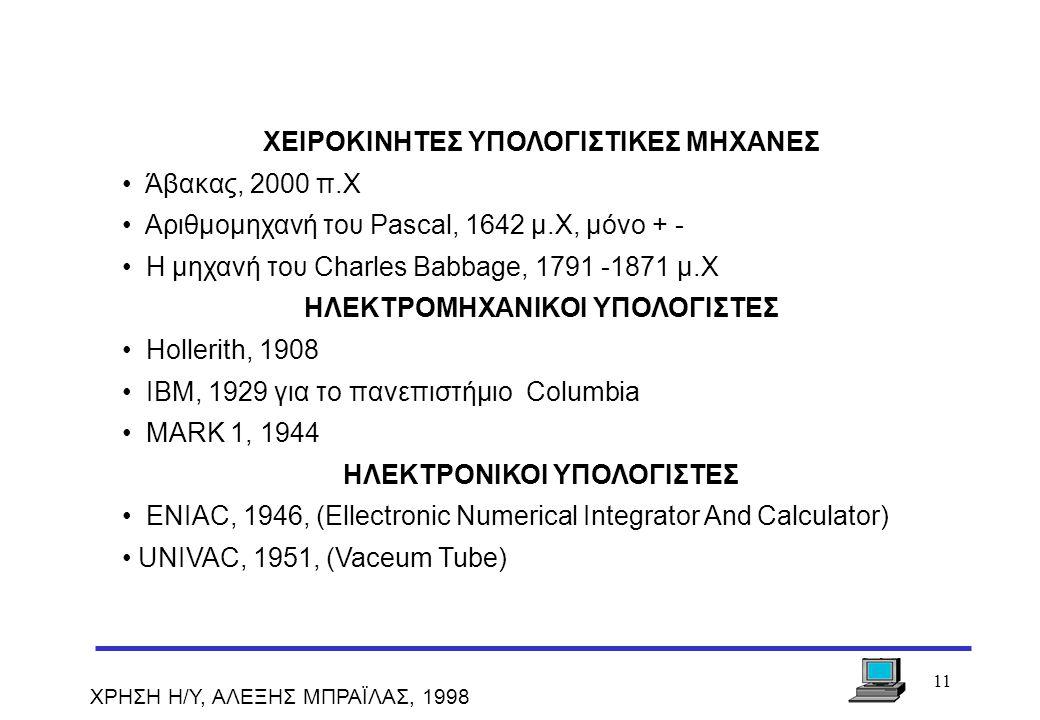 ΧΕΙΡΟΚΙΝΗΤΕΣ ΥΠΟΛΟΓΙΣΤΙΚΕΣ ΜΗΧΑΝΕΣ Άβακας, 2000 π.Χ