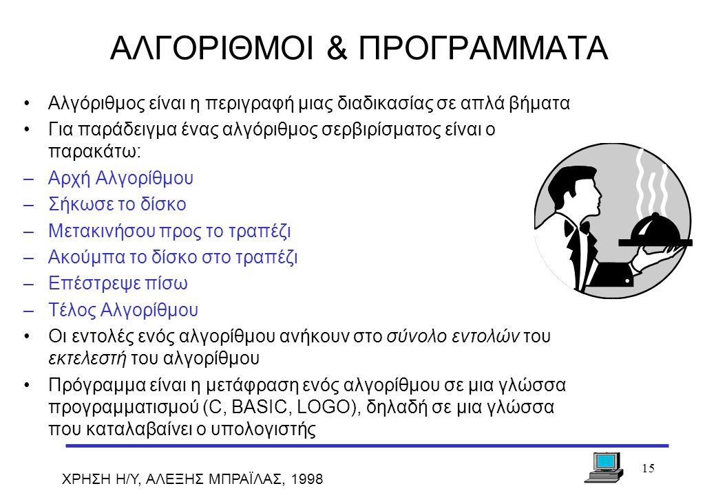 ΑΛΓΟΡΙΘΜΟΙ & ΠΡΟΓΡΑΜΜΑΤΑ