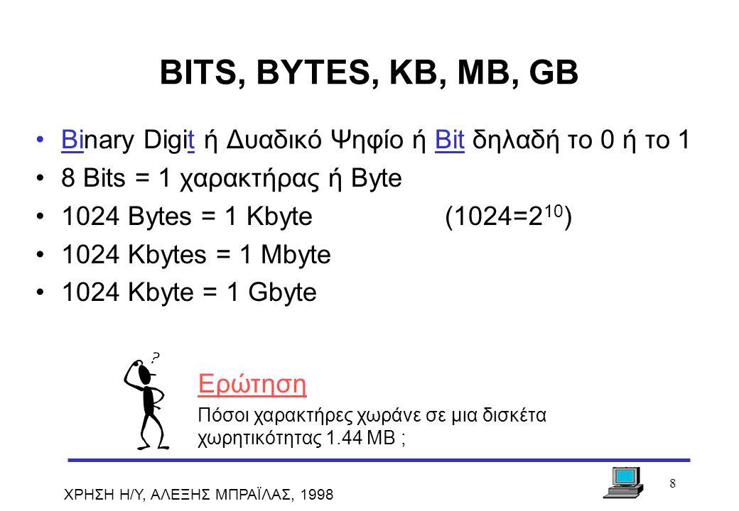 BITS, BYTES, KB, MB, GB Binary Digit ή Δυαδικό Ψηφίο ή Bit δηλαδή το 0 ή το 1. 8 Bits = 1 χαρακτήρας ή Byte.