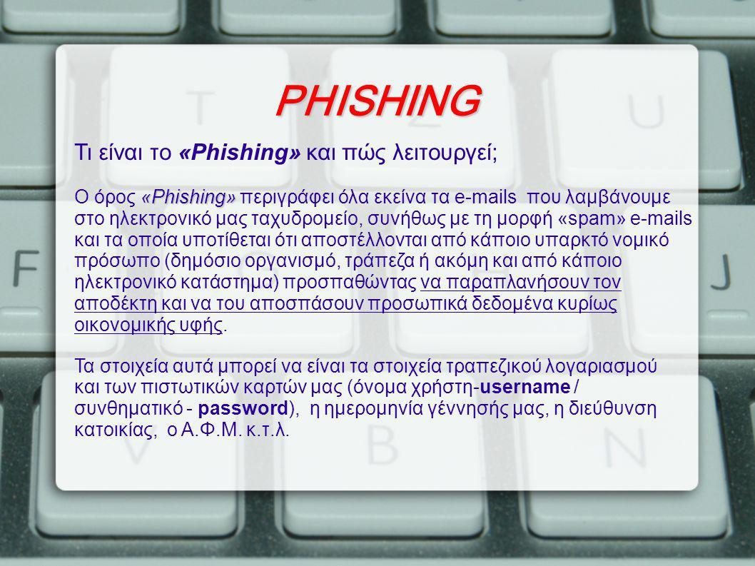 PHISHING Τι είναι το «Phishing» και πώς λειτουργεί;