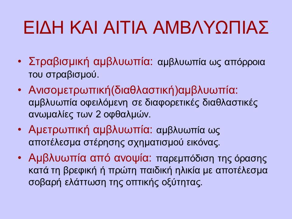 ΕΙΔΗ ΚΑΙ ΑΙΤΙΑ ΑΜΒΛΥΩΠΙΑΣ
