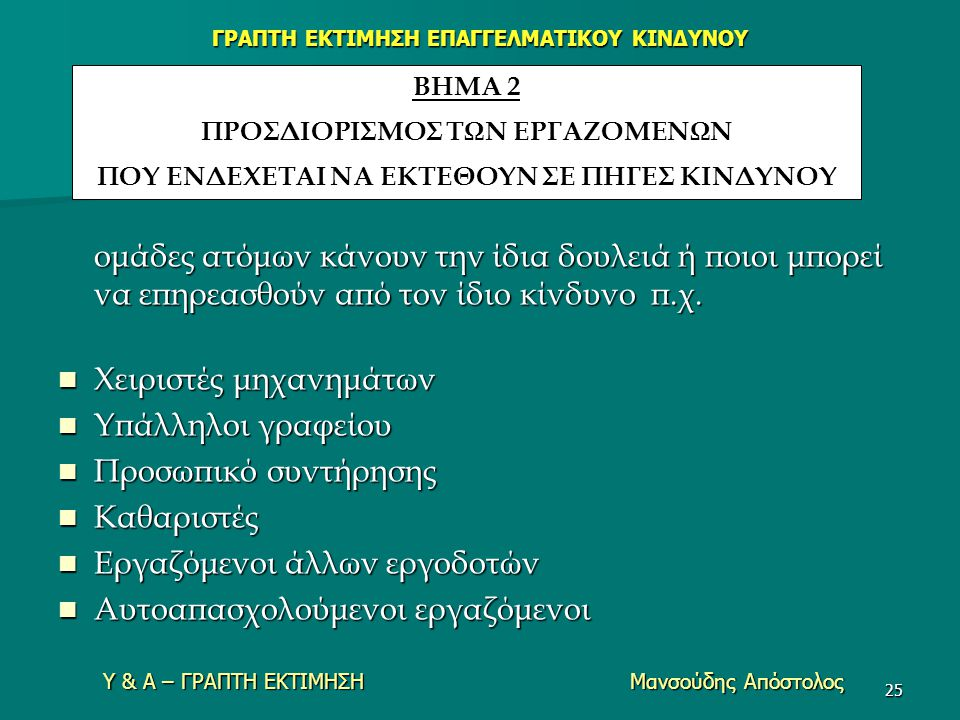 ΓΡΑΠΤΗ ΕΚΤΙΜΗΣΗ ΕΠΑΓΓΕΛΜΑΤΙΚΟΥ ΚΙΝΔΥΝΟΥ