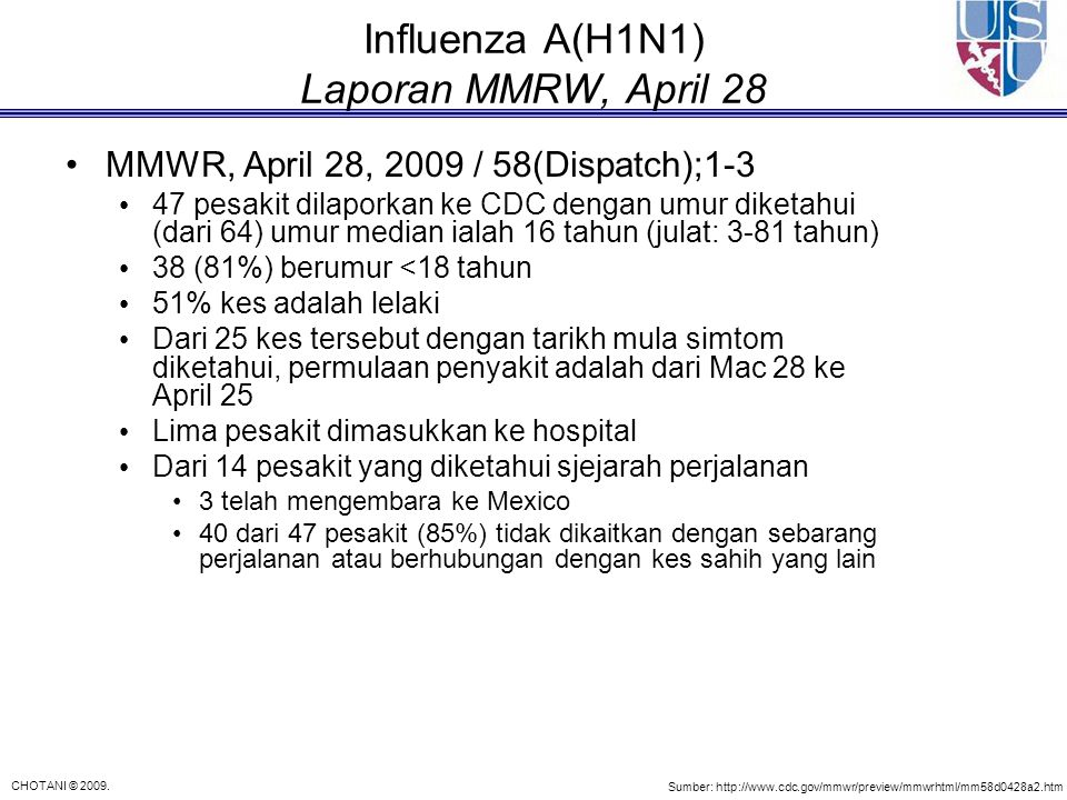 Influenza A(H1N1) Laporan MMRW, April 28